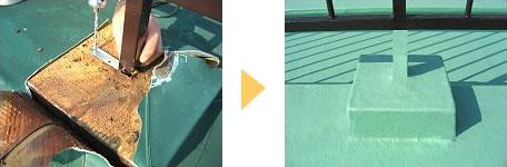 屋上防水シートの補修工事